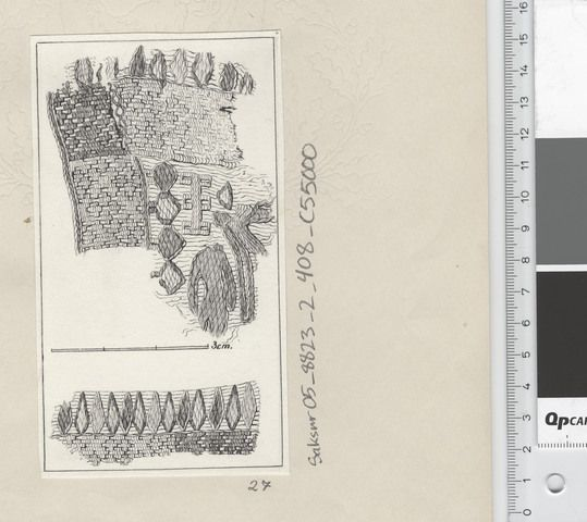 Oseberg Findings from folder 'Oseberg, textile - textile fragment No. 26, 27': textile fragment 27. Marker Drawing, probably by Mary Storm. Dimensions: W: 8 cm, H: 14 cm.