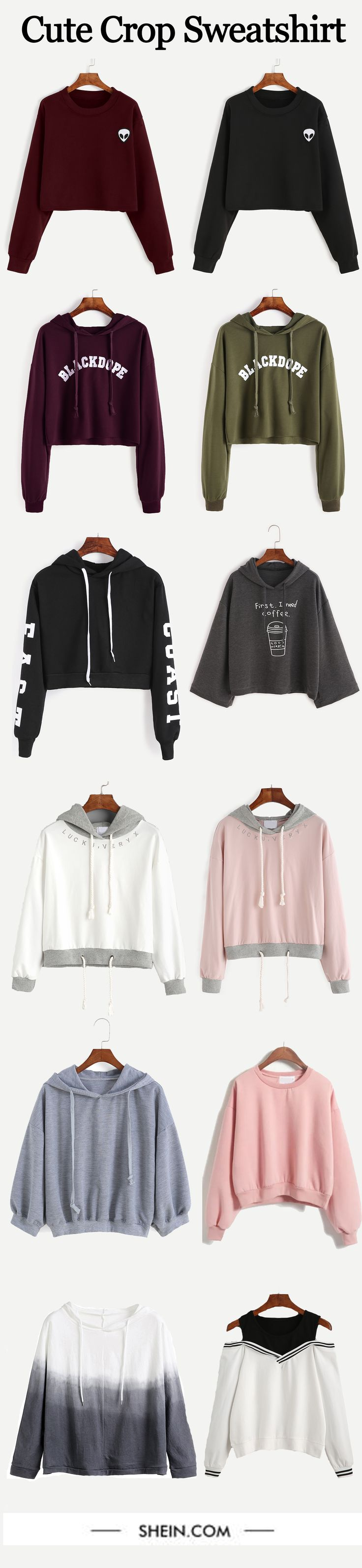 Cute crop fall/winter sweatshirt collection from shein.com. up to 80% off.