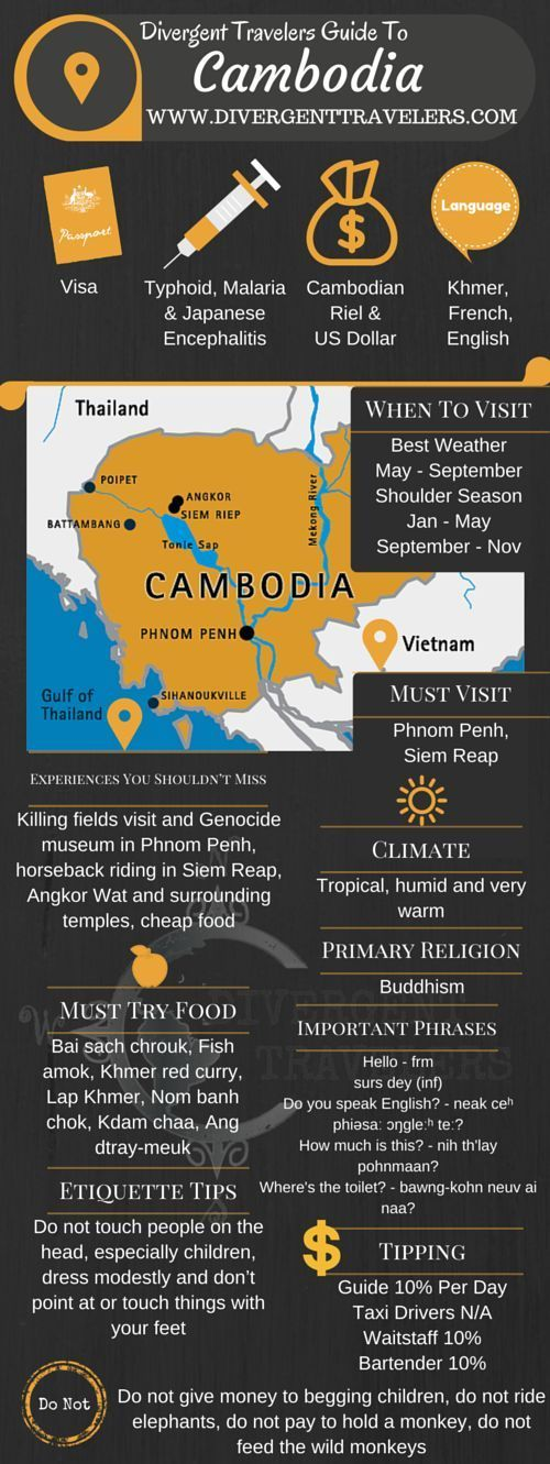 Divergent Travelers Travel Guide, With Tips And Hints To Cambodia. This is your ultimate travel cheat sheet to the Cambodia. Click to see our full Cambodia Travel Guide from the Divergent Travelers Adventure Travel Blog and also read about all of the different adventures you can have in The Cambodia at http://www.divergenttravelers.com/destinations/cambodia/
