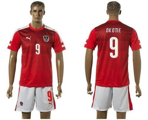 2016-2017 Austria #9 Okotie Red Home Soccer Country Jersey