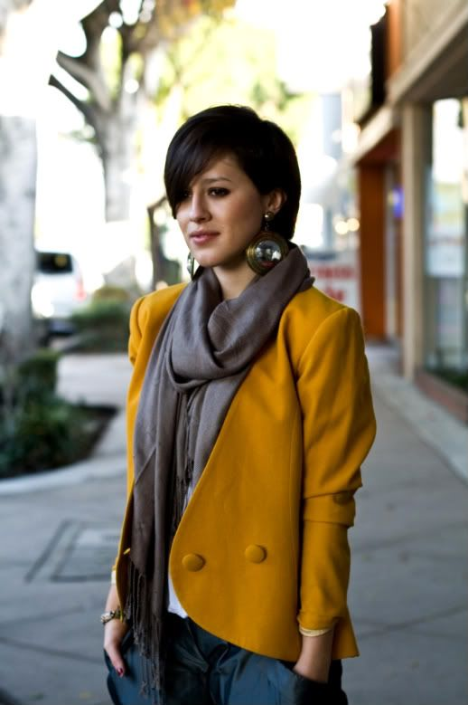 Beautiful dark mustard muted with by the addition of the grey scarf.  A sophisticated, sharp look.
