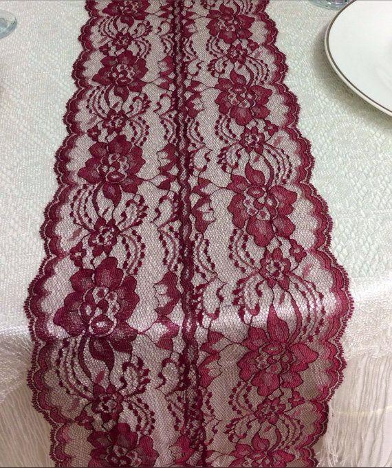 5ft Burgundy/Wine Lace Table Runner, Wedding Table Runner, 8in Wide x 60in Long, Table Overlay, Wine/Burgundy Wedding Decor