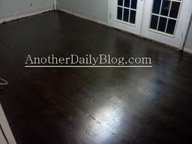 DIY How to Make Plywood Subfloor Look Like Wide Plank Hardwood Flooring with a sharpie marker, stain and poly!