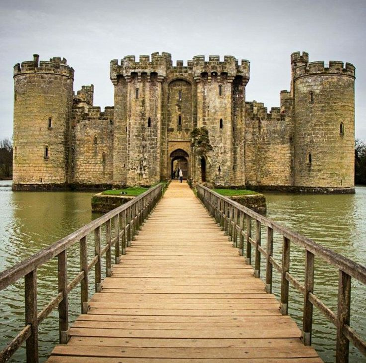Bodiam Castle, England. Bodiam Castle is a 14th-century moated castle near Robertsbridge in East Sussex. It was built in 1385 by Sir Edward Dalyngrigge, a former knight of Edward III, with the permission of Richard II, ostensibly to defend the area against French invasion during the Hundred Years' War. Photo by missapril19 via Instagram #amitrips #travel #castle #europe