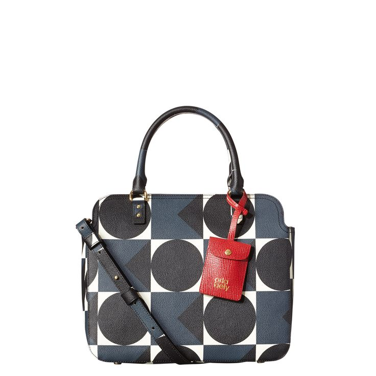 Orla Kiely: Structured Vinyl Textured Print Bag with zip closure. Adjustable, detachable strap which means bag can be worn cross body (max 121cm). Detachable card holder detail hanging on front. Inside details include signature linear stem jacquard lining, zip pocket, twin patch pocket and elastic key chain.