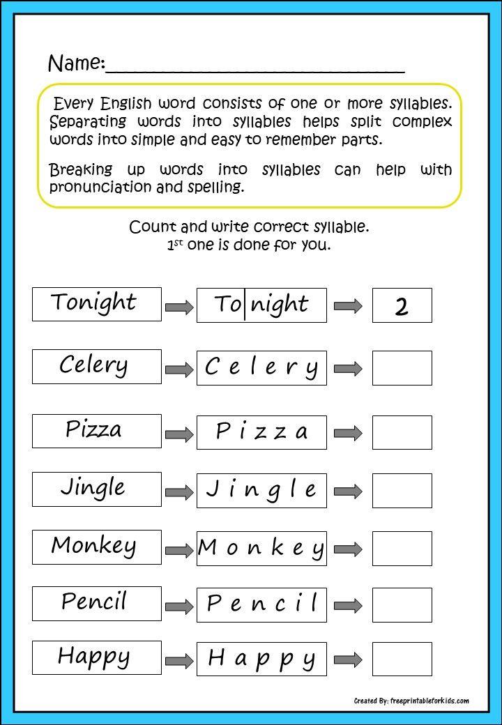 First Grade Language Printable Worksheets Count Syllables Kids Worksheets Printables Syllable Worksheet Worksheets For Kids Syllables worksheets 1st grade