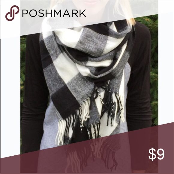 Selling this Soft black and white checkered scarf on Poshmark! My username is: plaidnpearl. #shopmycloset #poshmark #fashion #shopping #style #forsale #Accessories