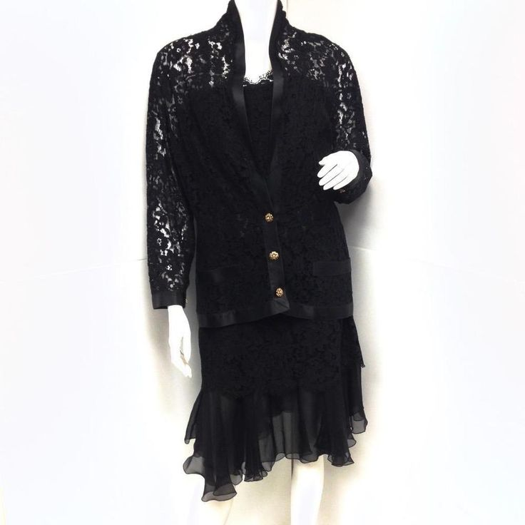 Chanel Black Lace Silk and Chiffon Strapless Hourglass Cocktail Dress 3Pcs Set #CHANEL