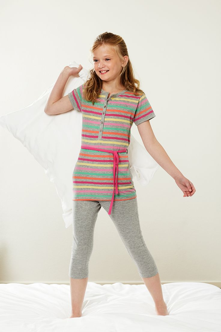 Be fashionable & still have a cute style with this multicloured stripey pyjama set  from Rebelle Pink for Girls
