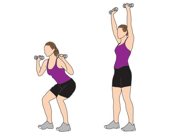 Squat | With | Shoulder | Press This is a great compound movement that works all major muscle groups. Stand with feet shoulder width apart, elbows bent and dumbbells near your ears. Lower yourself down into a squat position and as you stand straight, raise your arms above your head - as though you're performing a shoulder press. Make sure to keep your back straight and stable throughout. Complete 2 sets of 10-12 reps.