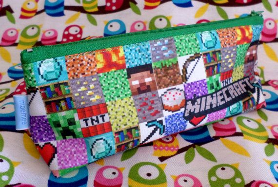 Minecraft Pencil Case Zipper Pouch Bag Pen Box School Creeper Steve TNT