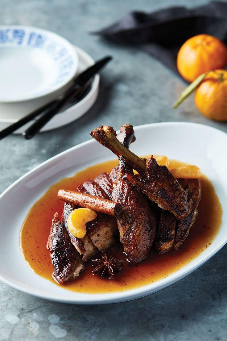 Tea-smoked duck with tamarind and plum sauce