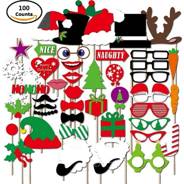 [100Pcs] Merry Christmas Photo Party Supplies Party, DIY Funny Photo Booth Props Kit Favor Including Mustaches Glasses Bows Hats Lips Ties Crowns for Party, Wedding, Birthday Favor, Graduation