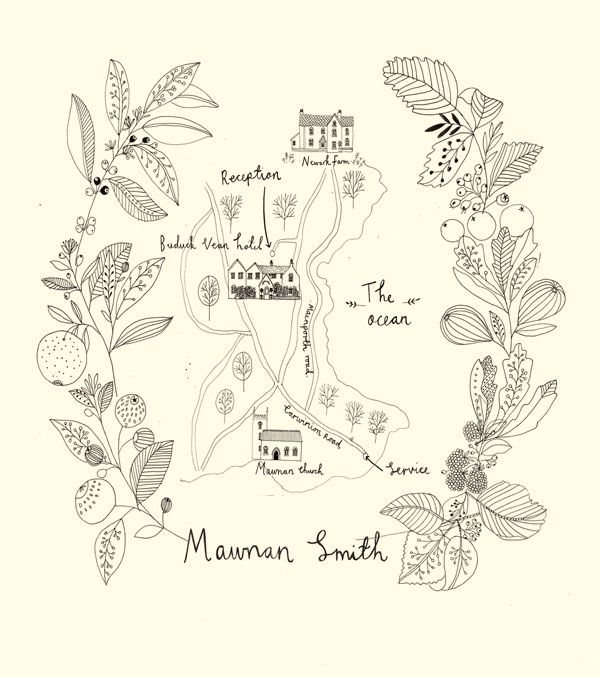Wedding map. Wedding stationery designed and illustrated by Katt Frank