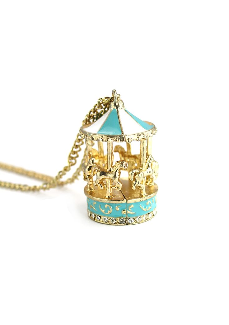 Pastel Blue Merry-Go-Round Necklace - Accessory - Retro, Indie and Unique Fashion