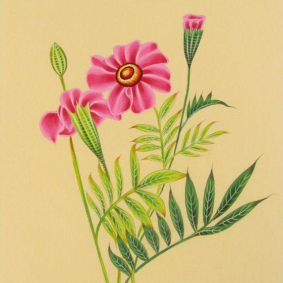 Peinture Miniature Indienne Motif Floral Fleur Plante Art Traditionnel Ethnique.