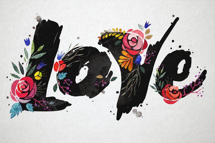 watercolor love by surazica on @creativemarket