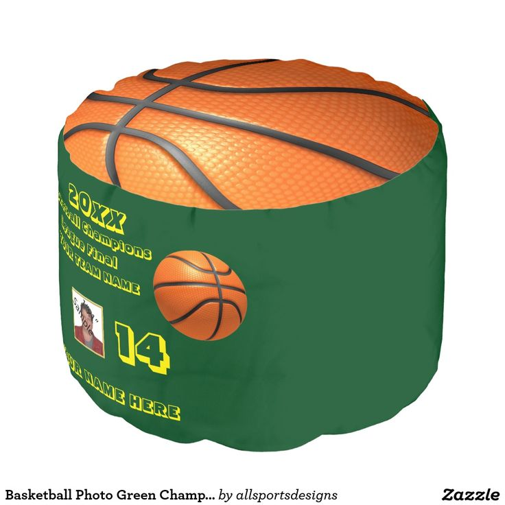 Basketball Photo Green Champions League Final Round Pouf Custom basketball photo foot cushion with Number of jersey ,Name of player's, photo of player, Name of team, and the Year on it. orange leather basketball on the top and bottom and a orange leather basketball with yellow text on the side. The back ground green color can be change to your team colors.The yellow text can be changed as well. This pouf is great for a gift.Delete any or all text. IMPORTANT Personalize each basketball…