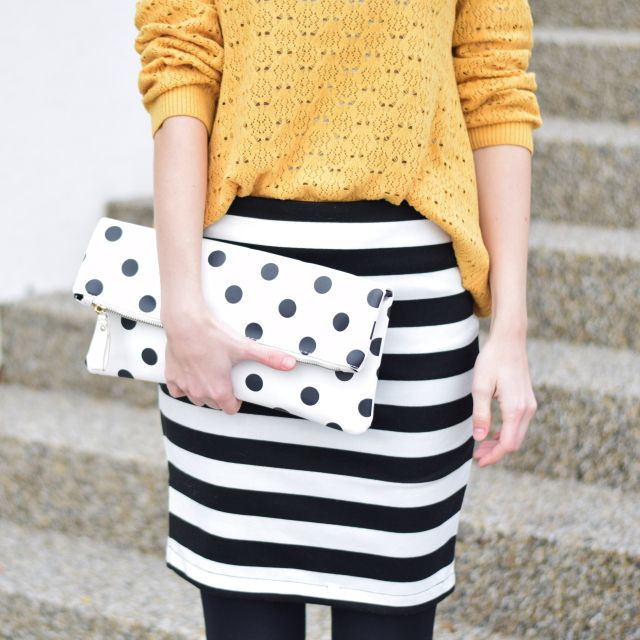 striped and dots and yellow sweater