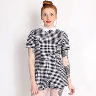 Motel Check Joni Gingham Collared Playsuit www.rokii.co.uk