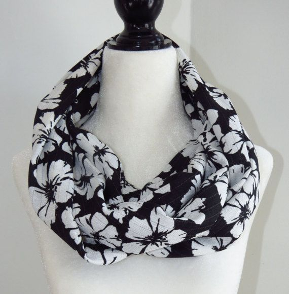 Black and White Infinity Scarf Flowered Infinity by MelyndaSwan