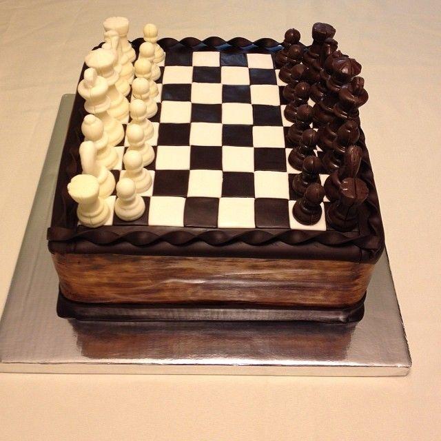 21st birthday chess board cake with edible chocolate pieces http://instagram.com/wellkneadedbakery