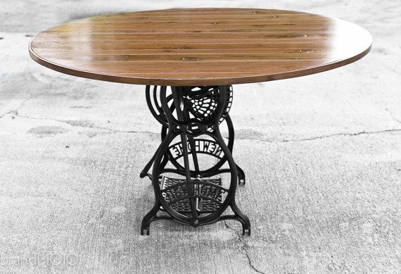 Round Table Sewing Machine Treadle Base New Home Iron