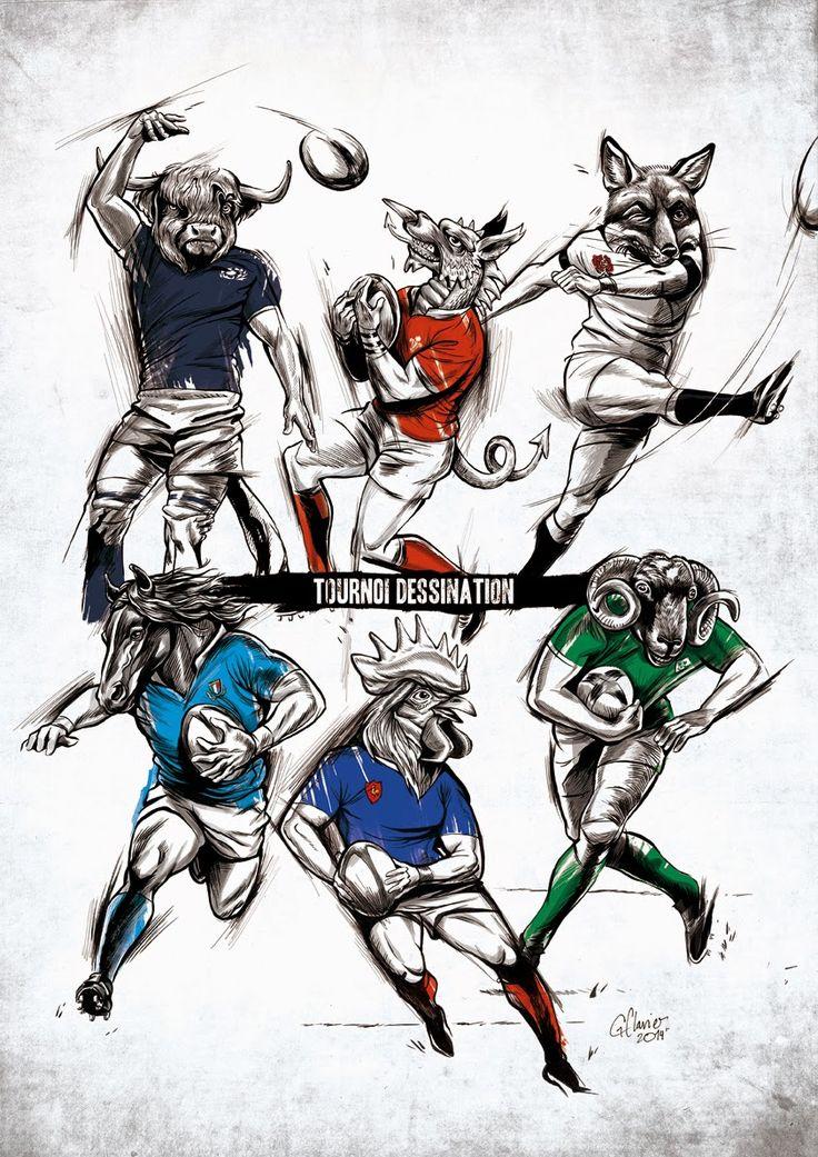 """Guillaume Clavier #Tournoi des 6 nations #Rugby #Illustration Le """"Tournoi dessination"""": C'est parti !"""