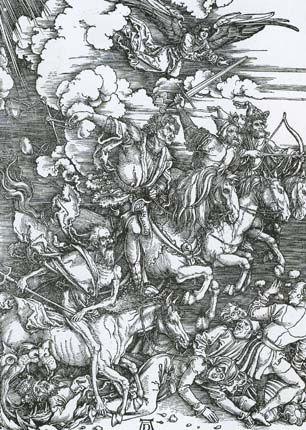 """Дюрер Альбрехт Четыре всадника  Гравюра на дереве из цикла """"Апокалипсис"""". 1498."""