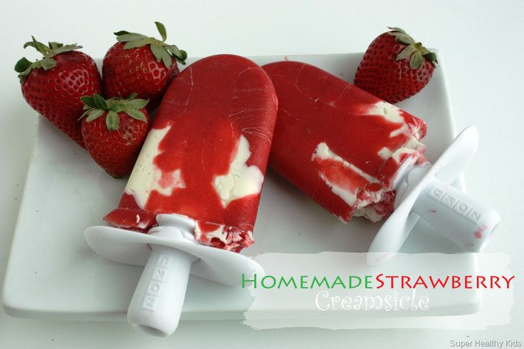 2 ingredient yumm strawberry creamsicles. Use your strawberries that are about to go bad and whip these up in minutes!  #popsicles #healthysubstitutions from Super Healthy Kids