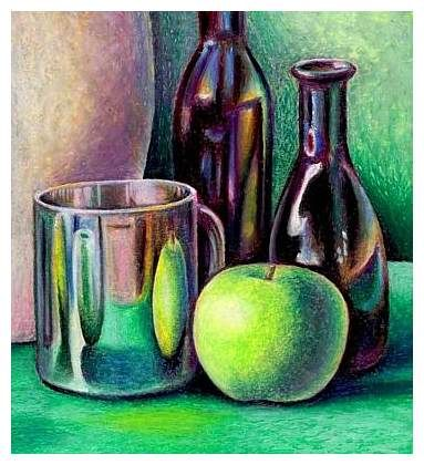 Great Lesson for Still Life with Oil Pastels, site also has chalk and pencil still life step by step instructions and slide shows