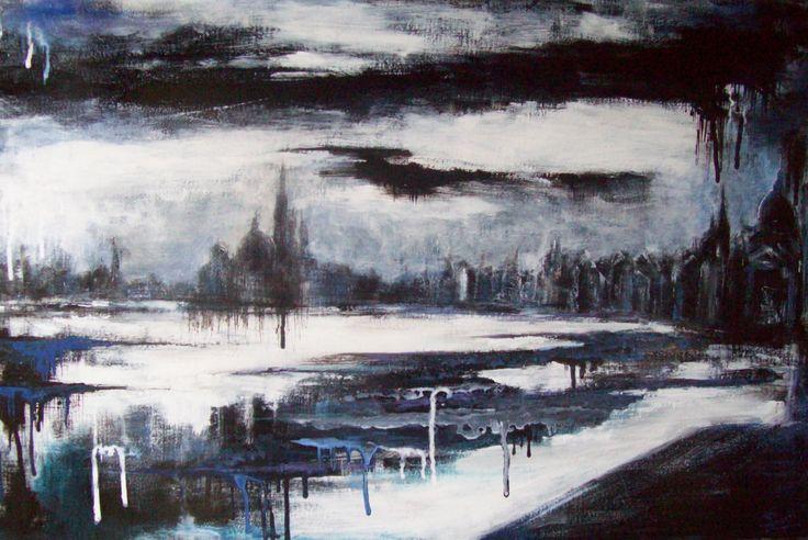 """"""" Un altro sogno """".2010. Smalti e acrilici su tavola, cm 40 x 60 ."""