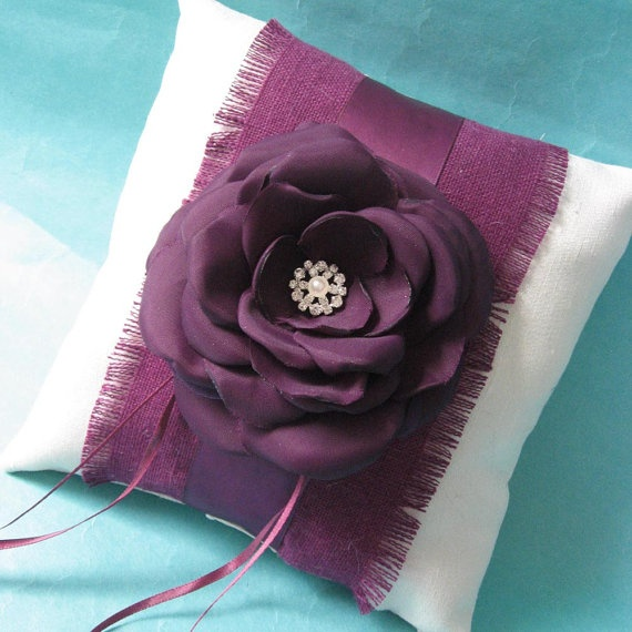 Eggplant Purple and Ivory Rose Feather Ringbearer Pillow