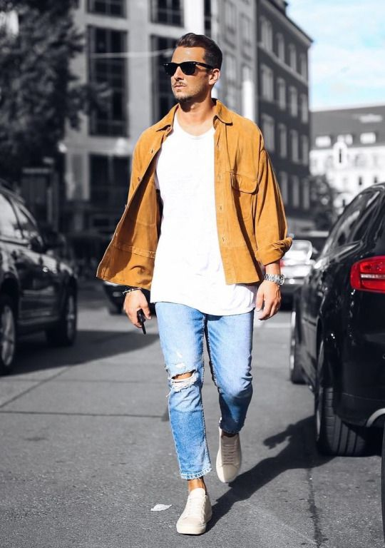 Menswear for Tuesday. Mustard shirt & jeans