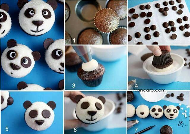 Cute Panda Bear Cupcake Decoration Idea