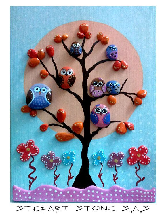Nursery wall art, Cute Owls, Boys Wall Art, Girl Wall Decor, Owls Art , Pebble Art, Painted stones, Home Wall decor, Kids room decor