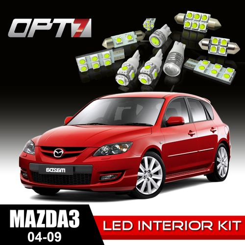10pc Interior LED Replacement Light Bulbs Package Set for 04-09 Mazda 3 | White