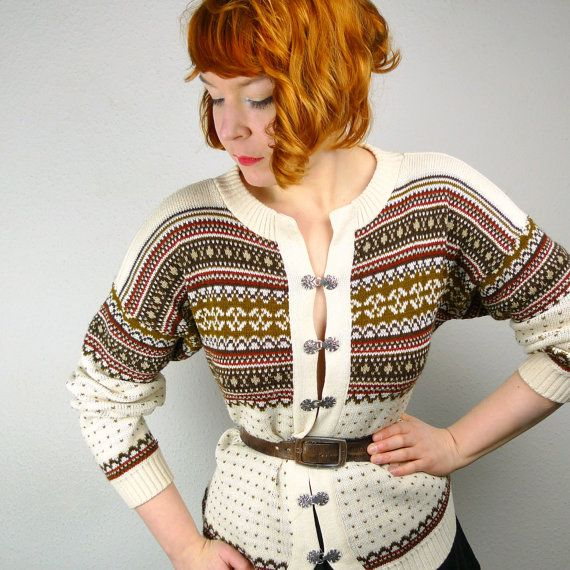 Vintage 80s does 40s SCANDIC cardigan w silver