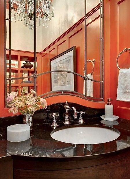 Orange Black And Brass Bathroom