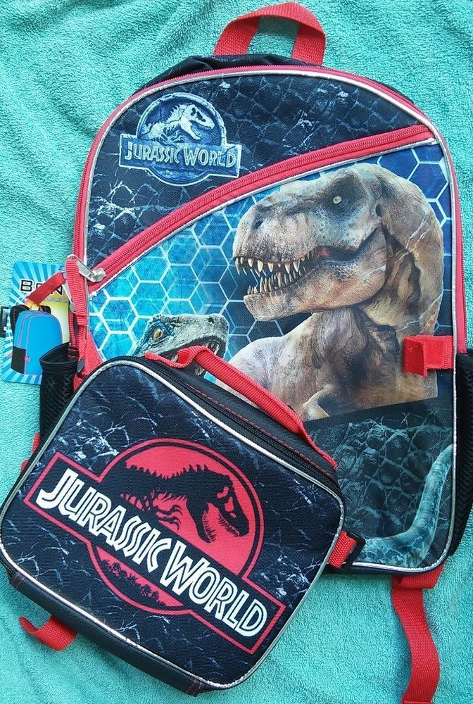 1e1354928cec Jurassic World Backpack NeW Lunch Box Canvas Book Bag NWT Jurassic Park  TRex NWT  JurassicWorldBackpack  JurassicWorld  JurassicParkBackpack   JurassicPark ...