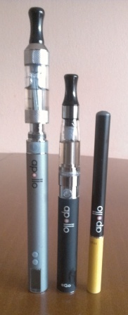 Apollo ecigs, sold both in US and UK, left to right - 1. Apollo eGo VV 650 mAh battery, 3.0-6.0 V; ;  2. Superior eGo battery, 900 mAh, standard unregulated; 3. Apollo Extreme Kit Battery, 280 mAh and tobacco cartomizer. Reviews and discount at Apollo products sold both in US and UK #ecigarettes, #electronic_cigarettes, #ecigs