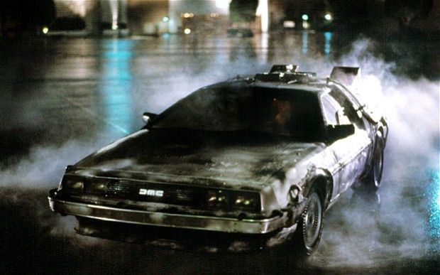 The DeLorean time machine, one of many inventions in the Back to the Future trilogy.