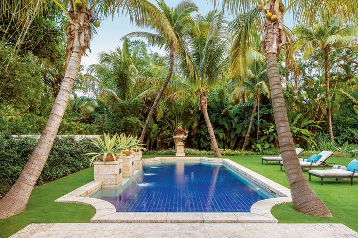 """Lush Private Garden - Magnificent Miami Garden - Southernliving. Dana and Quentin Nason bought a 1929 Coral Gables house in the """"Old Spanish"""" style characterized by clay tile roofs, stucco facades, and other Mediterranean features. Though both it and the accompanying garden needed work, potential oozed from every wall and leaf. Dana recalls, """"Our wish list included an oasis-like pool, lots of color, great views from all over, spaces for privacy, and a lush, tropical feel."""" To realize their…"""