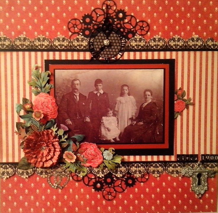 Circa 1900...lovely heritage page with brightly patterned papers, dimensional flowers and Steampunk gears.