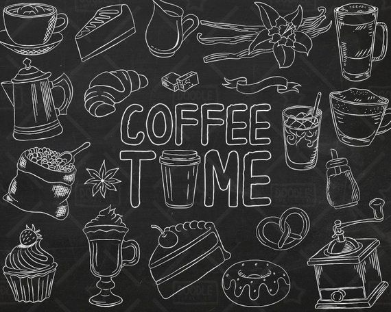 Chalkboard Coffee Vector Pack Coffee Shop Bakery Cafe Clipart Latte Cappuccino Espresso Sweets Clipart Coffee Sticker Svg Png File Seni Karya Seni Kopi Desain Banner