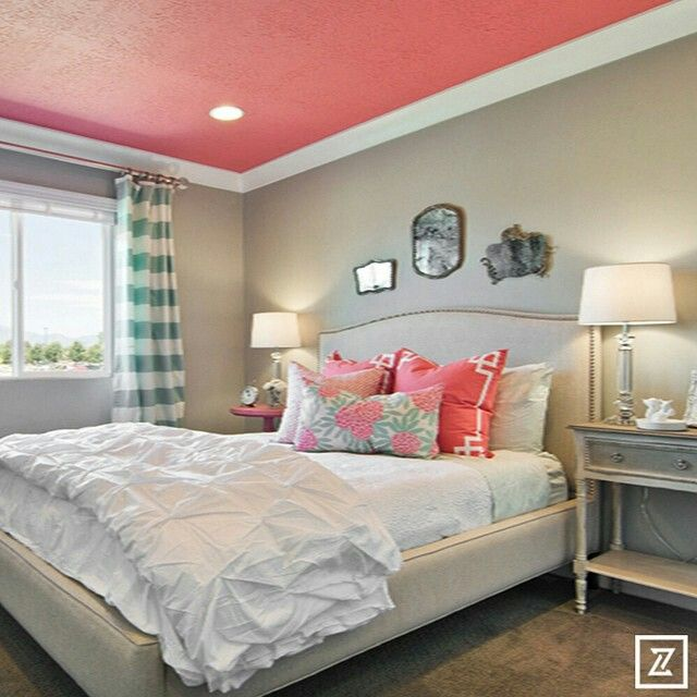 Cute tween teen bedroom with a pop of coral painted for Edgy bedroom ideas