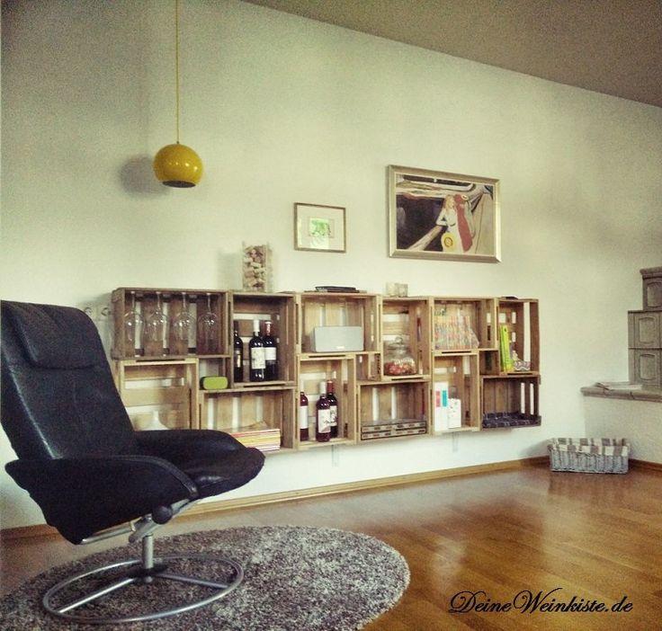 Wohnwand Aus Weinkisten (mit Anti Holzwurm Wärmebehandlung) | #02  Weinkisten Wohnwände | Pinterest
