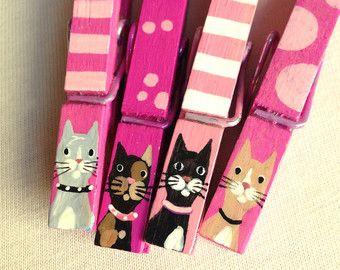 Dipinto a mano di rosa CAT molletta magnetico