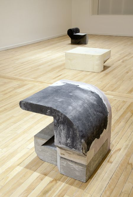 "Ikadobin , 2014, concrete, foam, and canvas,24"" x 24"" x 21"""