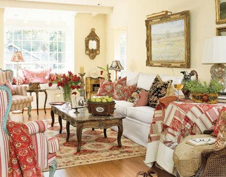 French Country Living Room ::A Montecito Cottage Living Room That Includes  Not Only Reds, But Also Turquoise Blue And Mustard Yellow French Bergères,  ...